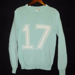 FOREVER21 Sage-Green Football #17 Sweater
